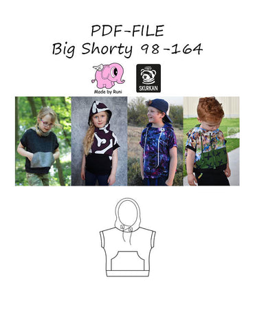 PDF-mønster/pattern: Big shorty child size 98-164 (US 3T-14y)