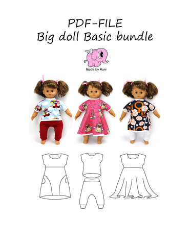 PDF-mønster/pattern: Big doll basic bundle