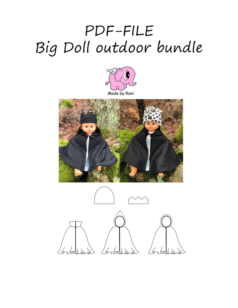 PDF-mønster/pattern: Big doll outdoor bundle