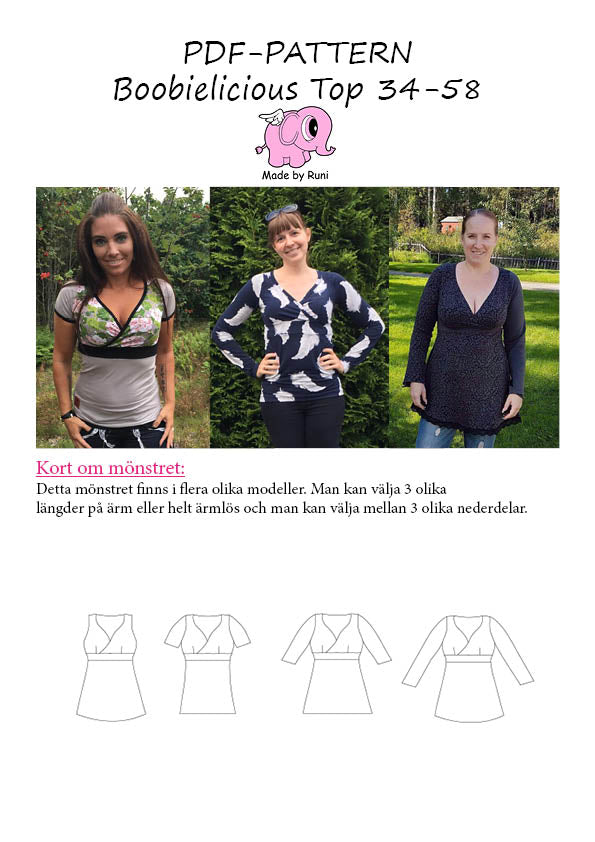 PDF-mønster/pattern: Boobielicious Top woman size 34-58 (US 4-28)