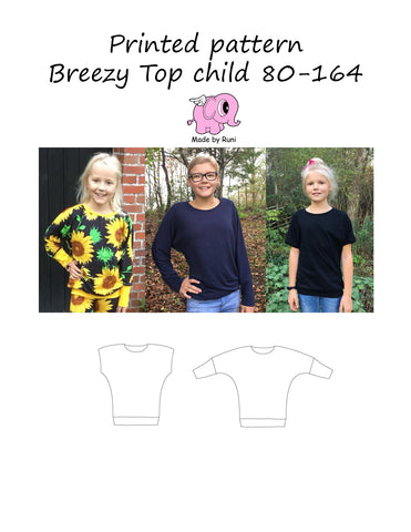 Mønsterark/printed pattern: Breezy top child size 80-164 (US 12mo-14y)