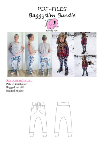 PDF-pakke/bundle: Baggy Slim adult + child