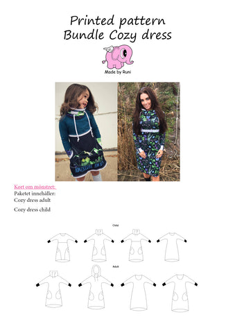 Mønsterpakke/printed pattern bundle: Cozy Dress child + adult