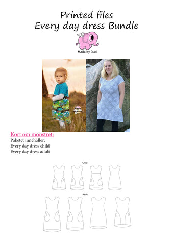 Mønsterpakke/printed pattern bundle: Every Day Dress child + adult