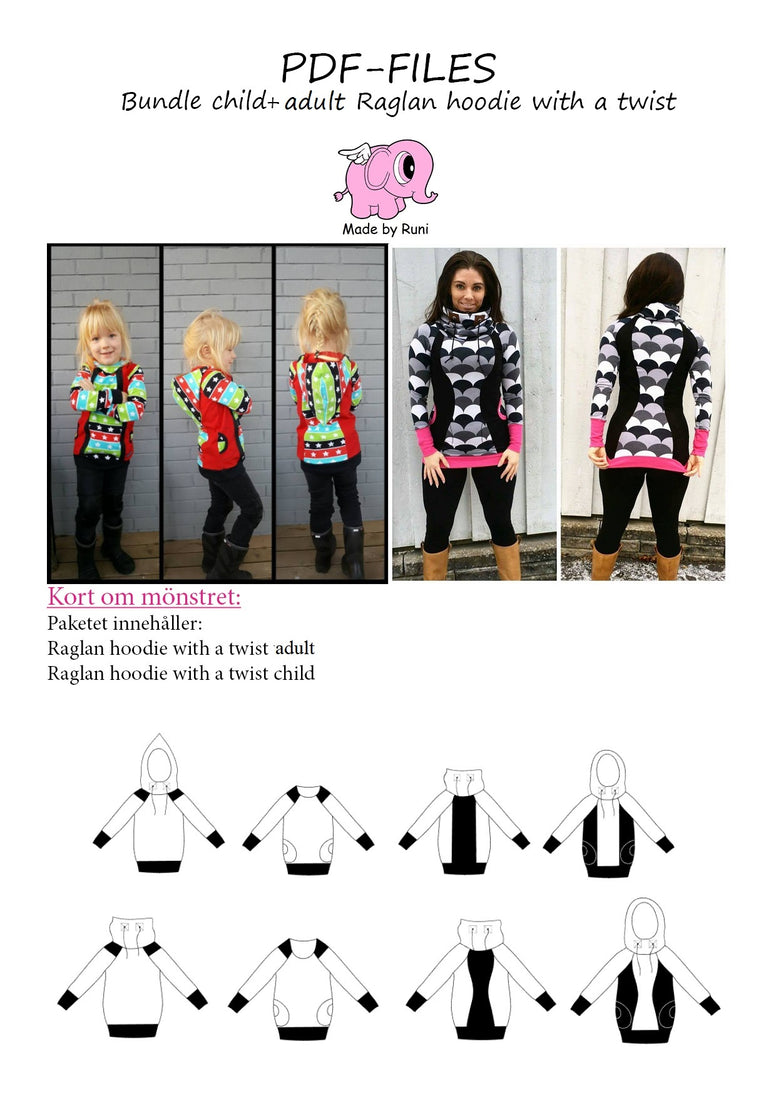 PDF-pakke/bundle:  Raglan Hoodie With a Twist: child + adult fitted