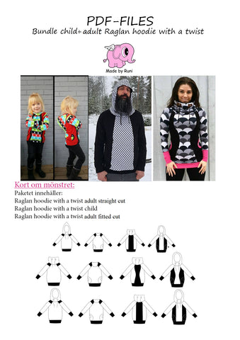 PDF-pakke/bundle: Raglan Hoodie With a Twist all