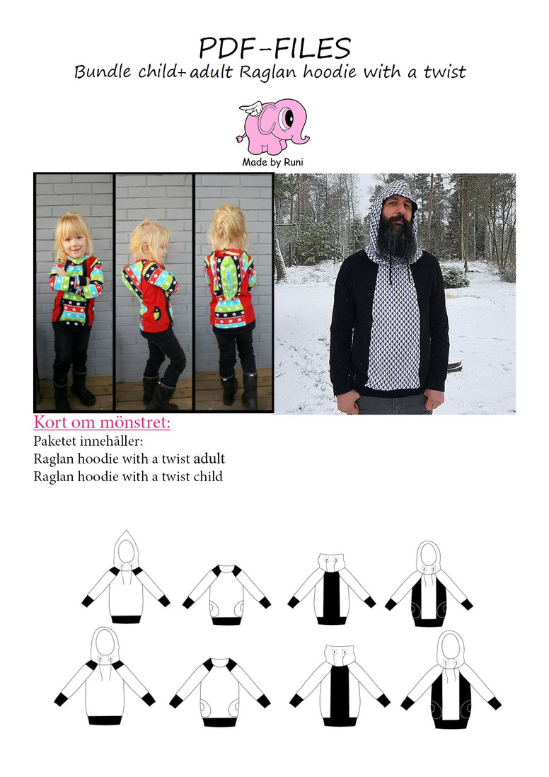 PDF-pakke/bundle: Raglan Hoodie With a Twist child + adult straight cut