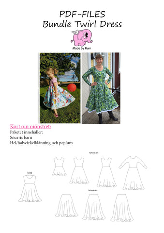PDF-pakke/bundle: Snurris/twirl dress child + adult