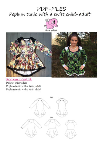 PDF-pakke/bundle: Peplum Tunic With a Twist child + adult