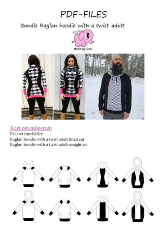 PDF-pakke/bundle: Raglan Hoodie With a Twist adult straight cut + fitted cut