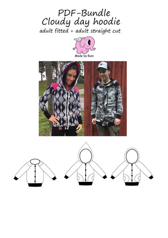 PDF-pakke/bundle: Cloudy day hoodie adult both