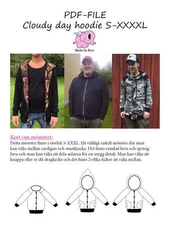 PDF-mønster/pattern: Cloudy Day Hoodie male size S-XXXXL