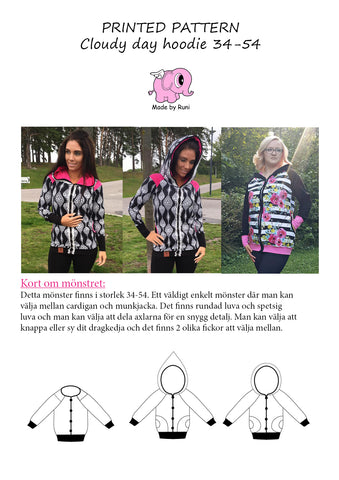 Mønsterark/printed pattern: Cloudy Day Hoodie woman size 34-54 (US 4-24)