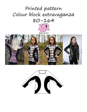 Mønsterark/printed pattern: Colour block extravaganza child size 80-164 (US 12mo-14y)