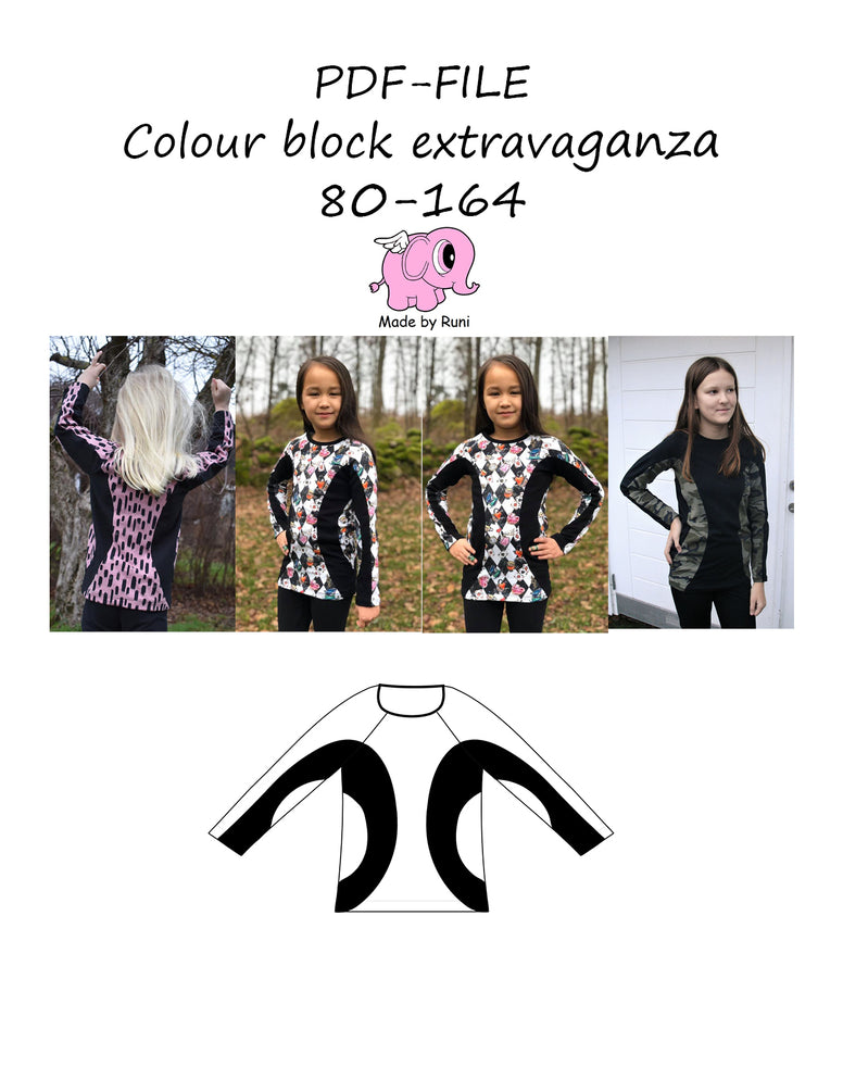 PDF-mønster/pattern: Colour block extravaganza child size 80-164 (US 12mo-14y)