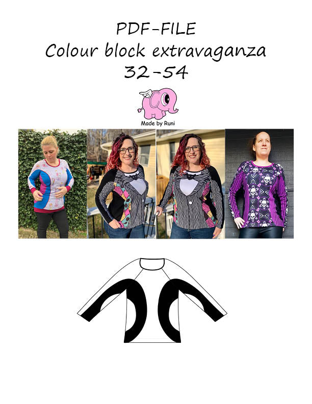 PDF-mønster/pattern: Colour block extravaganza adult curved fit size 32-54 (2-24)