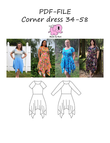 PDF-mønster/pattern: Corner dress Adult 34-58 (US 4-28)