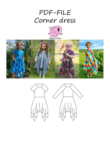 PDF-mønster/pattern: Corner dress child 80-164