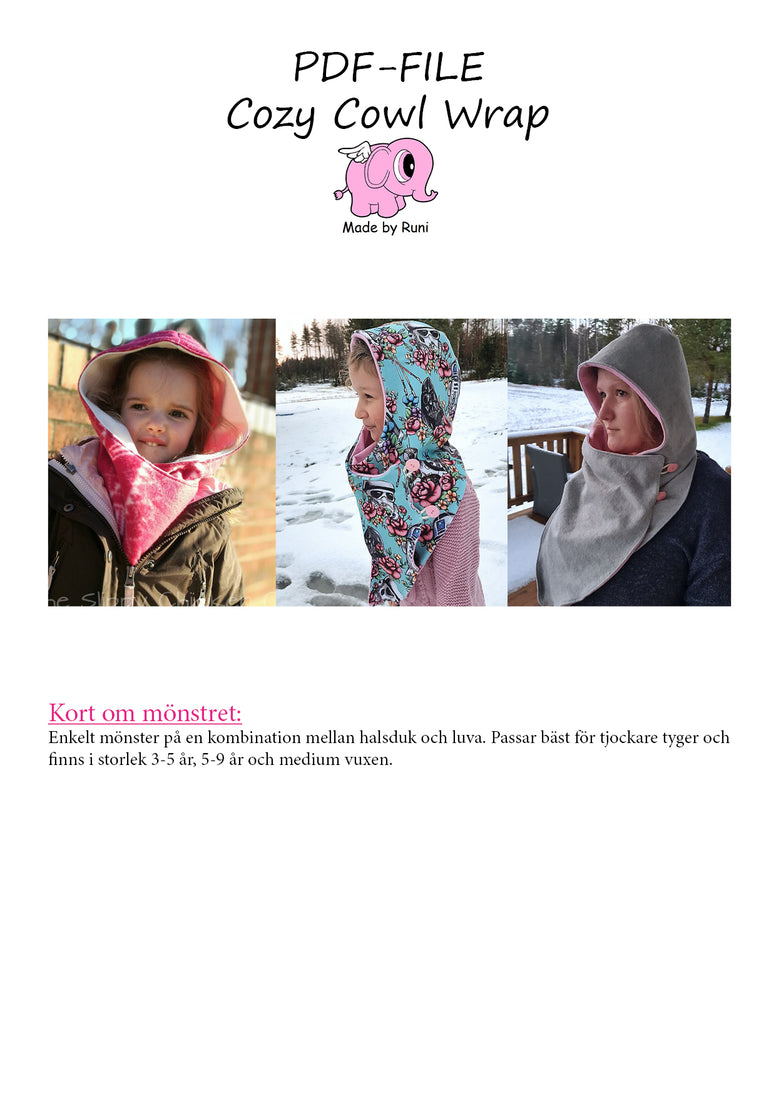 PDF-mønster/pattern: Cozy Cowl Wrap 3 years - adult