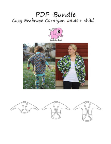 PDF-pakke/bundle: Cozy embrace cardigan adult + child