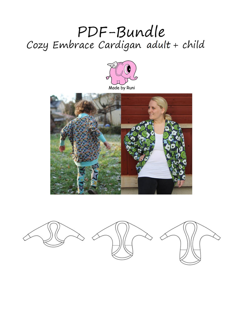 PDF-pakke/bundle: Cozy embrace cardigan women + child