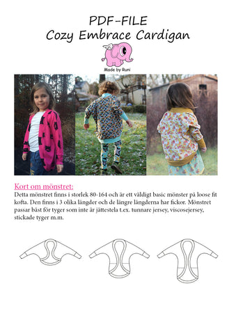 PDF-mønster/pattern: Cozy Embrace Cardigan child size 80-164