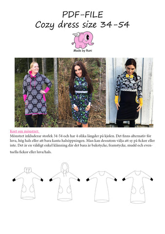 PDF-mønster/pattern: Cozy Dress adult size 34-54 (US 4-24)