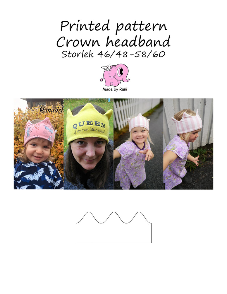 Mønsterark/printed pattern:  Crown headband