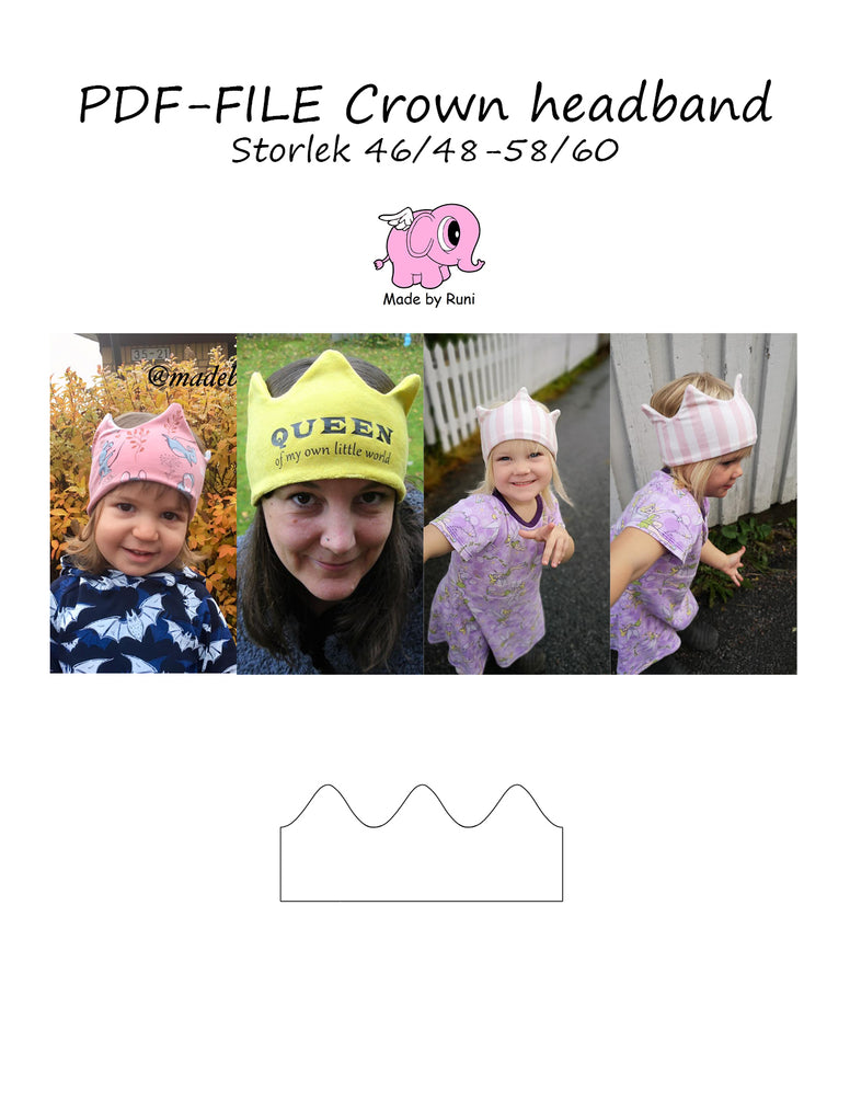 PDF-mønster/pattern: Crown headband