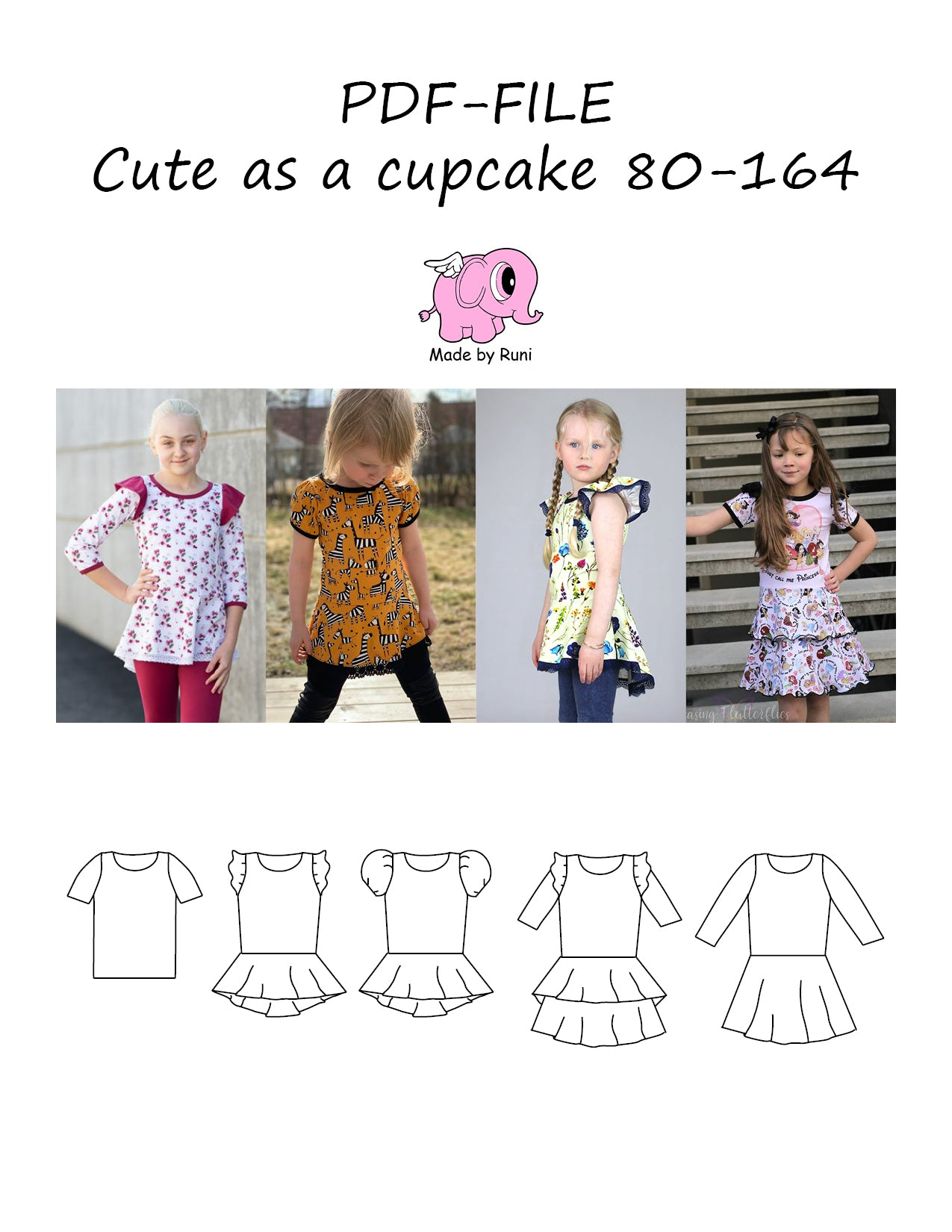 cac9d1f3 PDF-mønster/pattern: Cute as a cupcake 80-164 – Made by Runi