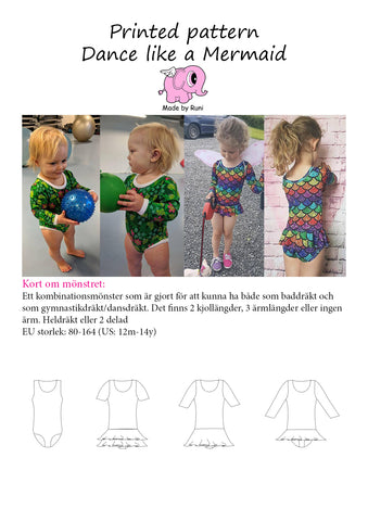 Mønsterark/printed pattern: Dance Like a Mermaid child size 80-164 (US 12m-14y)