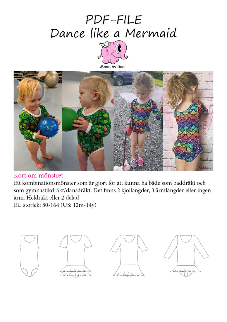 PDF-Mønster/pattern: Dance Like a Mermaid child size 80-164 (US 12m-14y)