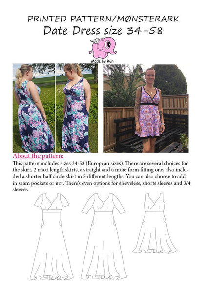 PRINTED PATTERN/MØNSTERARK Date Dress size 34-58 (4-28US)