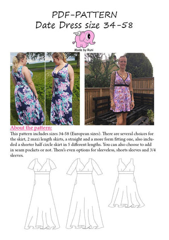 PDF-mønster/pattern: Date dress adult size 34-58 (US 4-28)