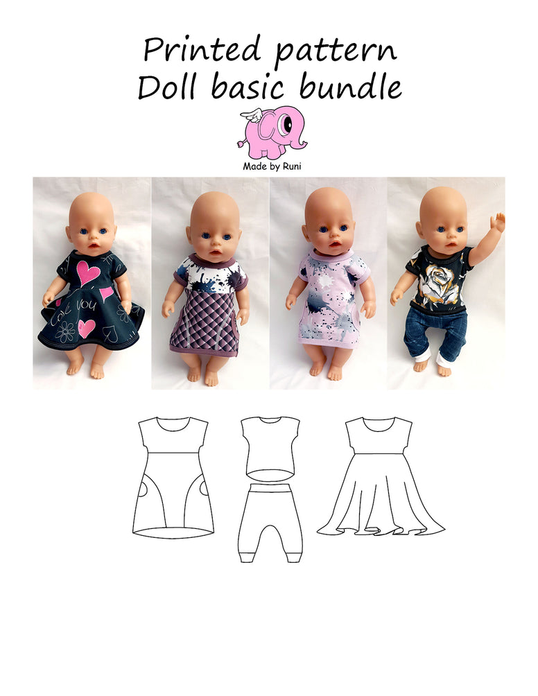 Mønsterark/printed pattern: Doll basic bundle