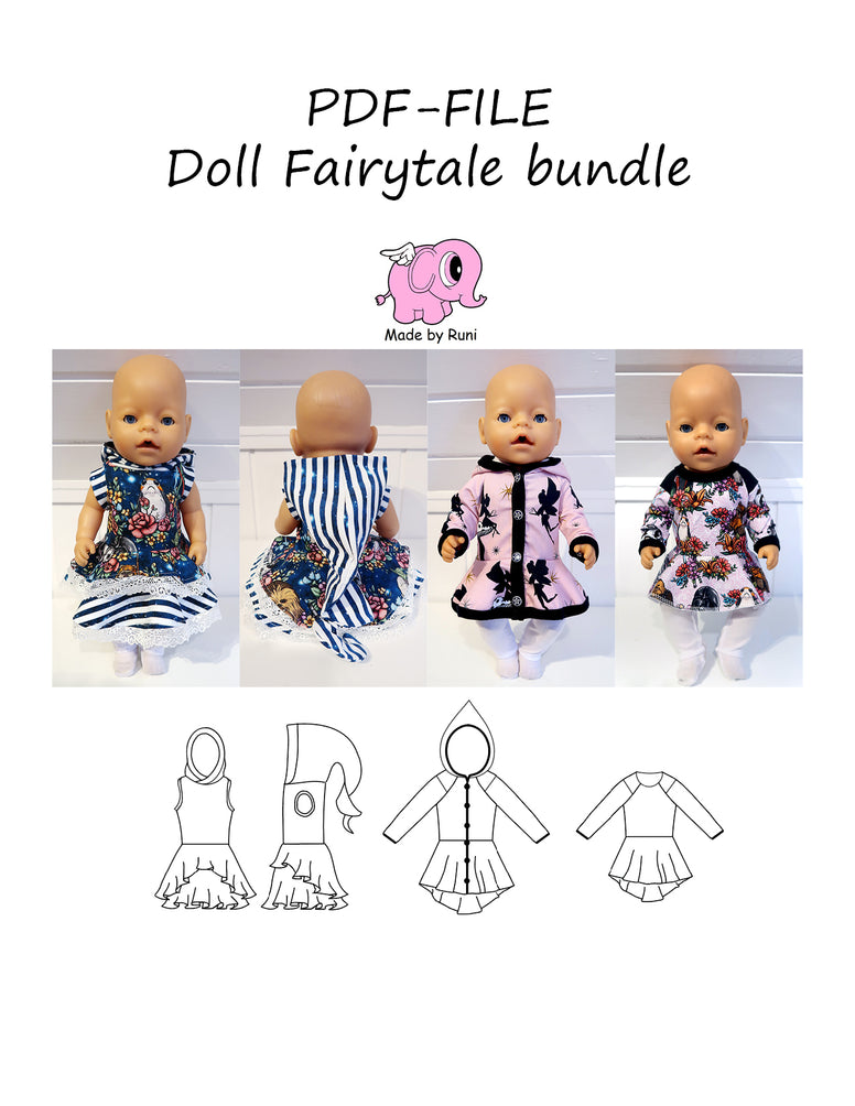 PDF-mønster/pattern: Doll Fairytale bundle