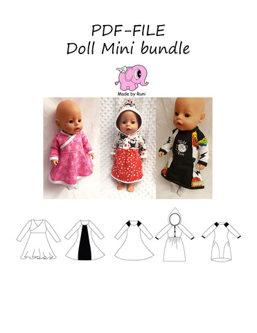 PDF-mønster/pattern: Doll Mini bundle