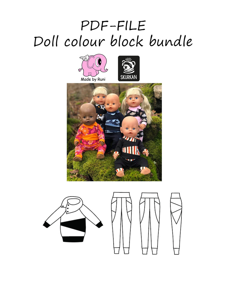 PDF-mønster/pattern: Doll Colour block bundle