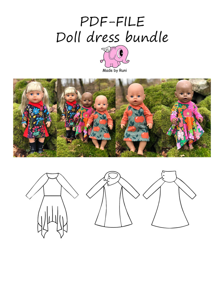 PDF-mønster/pattern: Doll dress bundle