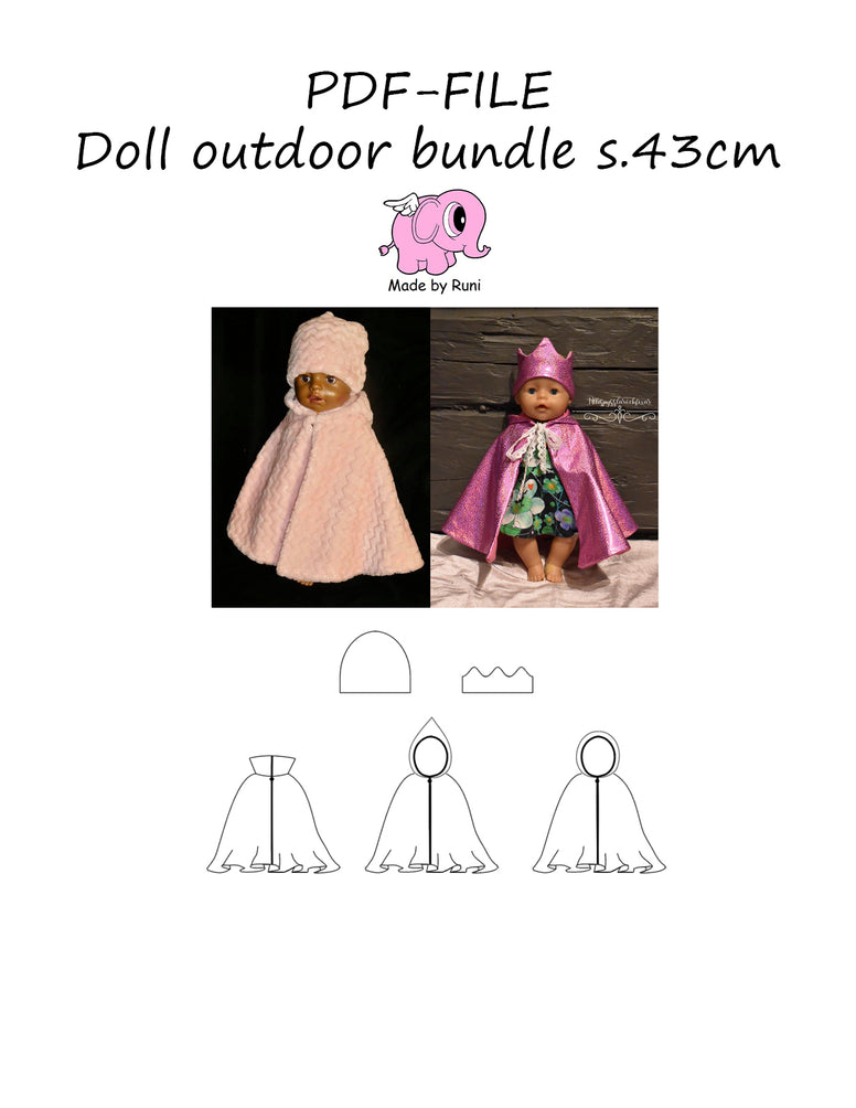 PDF-mønster/pattern: Doll Outdoor bundle