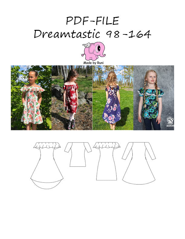 PDF-mønster/pattern: Dreamtastic child size 98-164 (US 3T-14y)