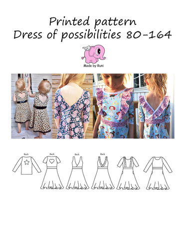 Mønsterark/printed pattern: Dress of possibilities 80-164