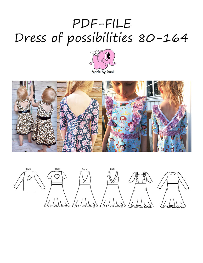 PDF-mønster/pattern: Dress of possibilities 80-164