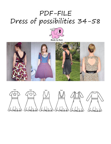 PDF-mønster/pattern: Dress of possibilities 34-58 (US 4-28)