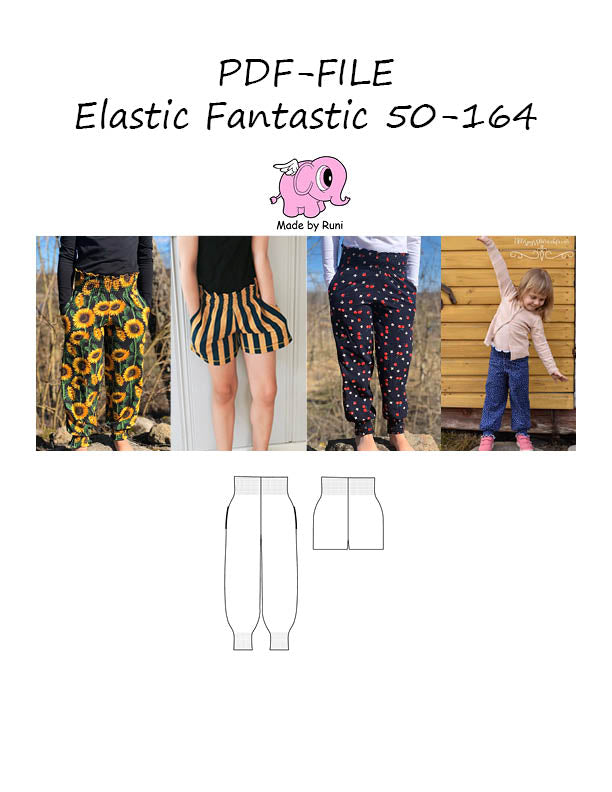 PDF-mønster/pattern: Elastic Fantastic child size 50-164 (US newborn-14y)