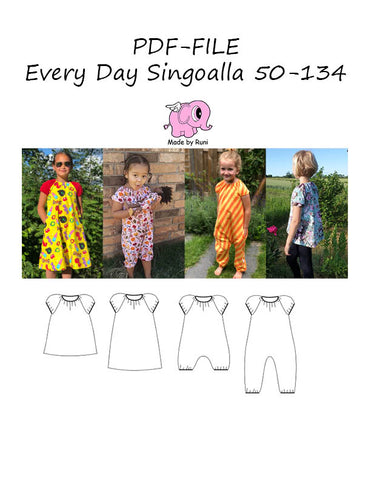 PDF-mønster/pattern: Every day Singoalla child size 50-134 (US newborn-9y)