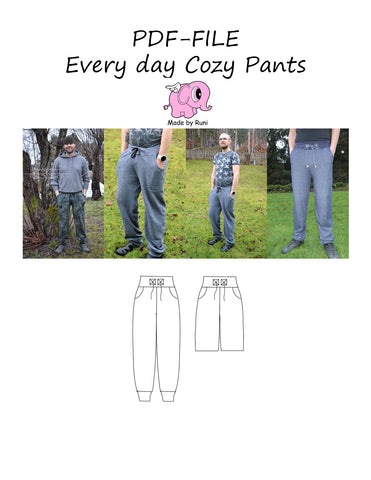 PDF-mønster/pattern: Every Day Cozy Pants adult loose fit XS-XXXXL