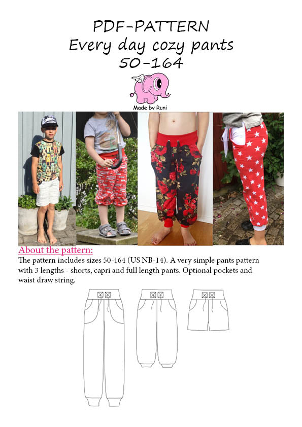 PDF-mønster/pattern: Every Day Cozy Pants child size 50-164 (US newborn-14y)