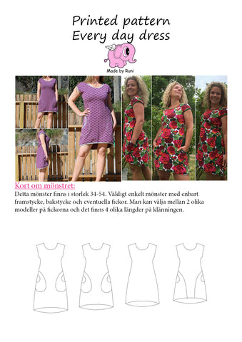 Mønsterark/printed pattern: Every Day Dress adult size 34-54 (US 4-24)