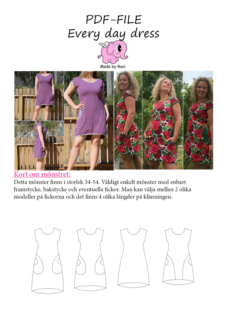 PDF-mønster/pattern: Every Day Dress woman size 34-54 (US 2-24)
